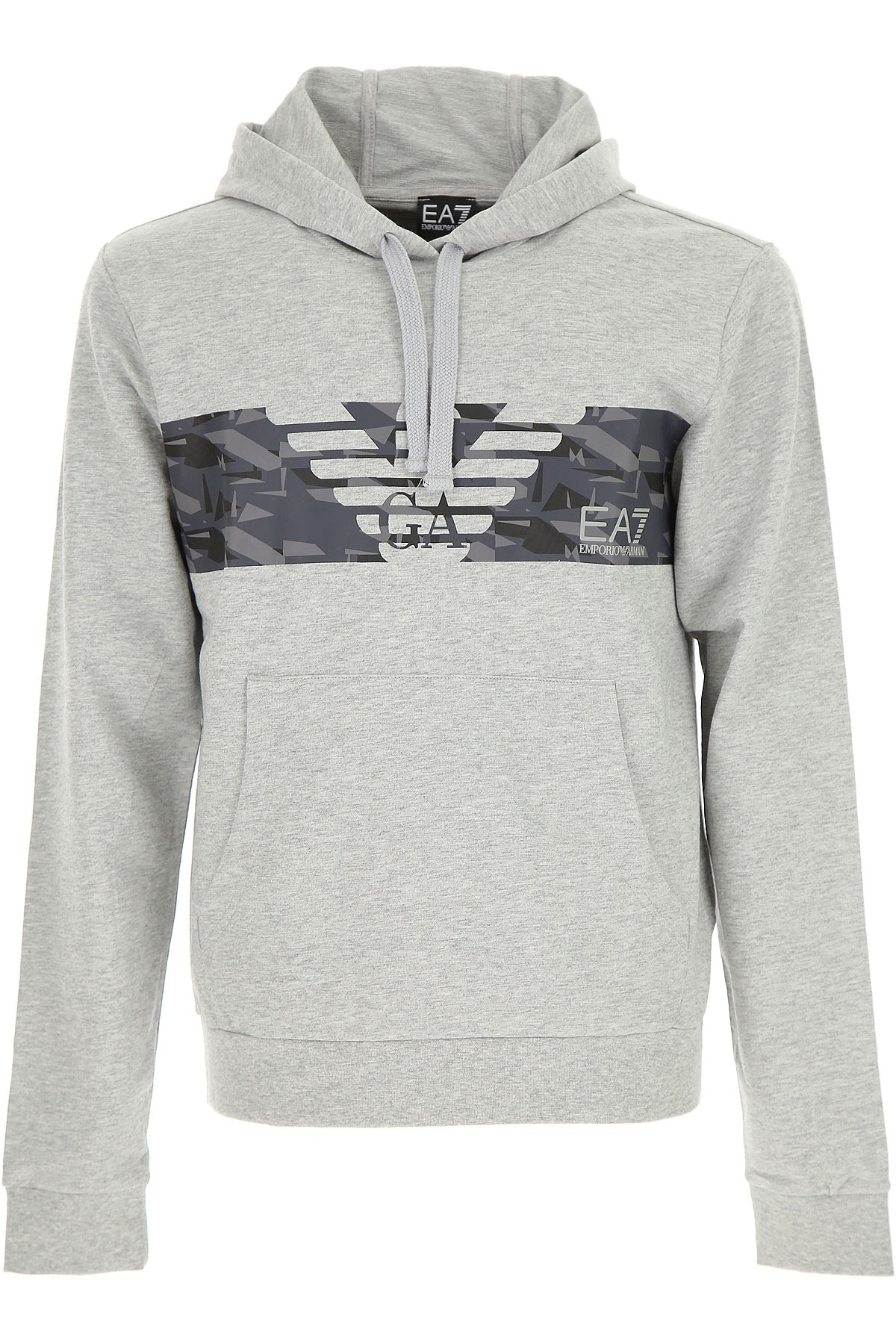 Emporio Armani Sweatshirt for Men, Light Grey Melange, Cotton, 2017, L M XL XXL USA-449478
