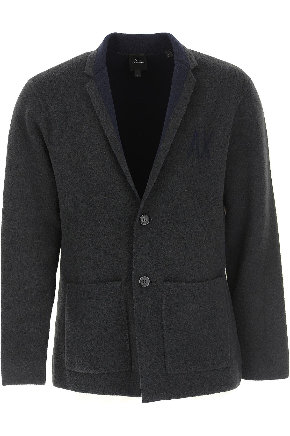 Emporio Armani Blazer for Men, Sport Coat On Sale, Dark Grey, poliammide, 2019, L M S