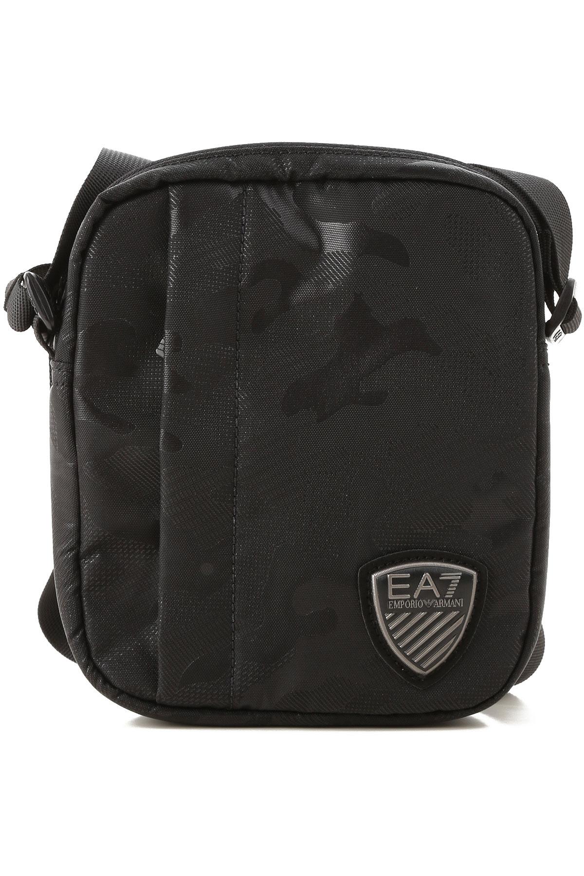 Image of Emporio Armani Messenger Bag for Men, Camouflage Black, polyamide, 2017