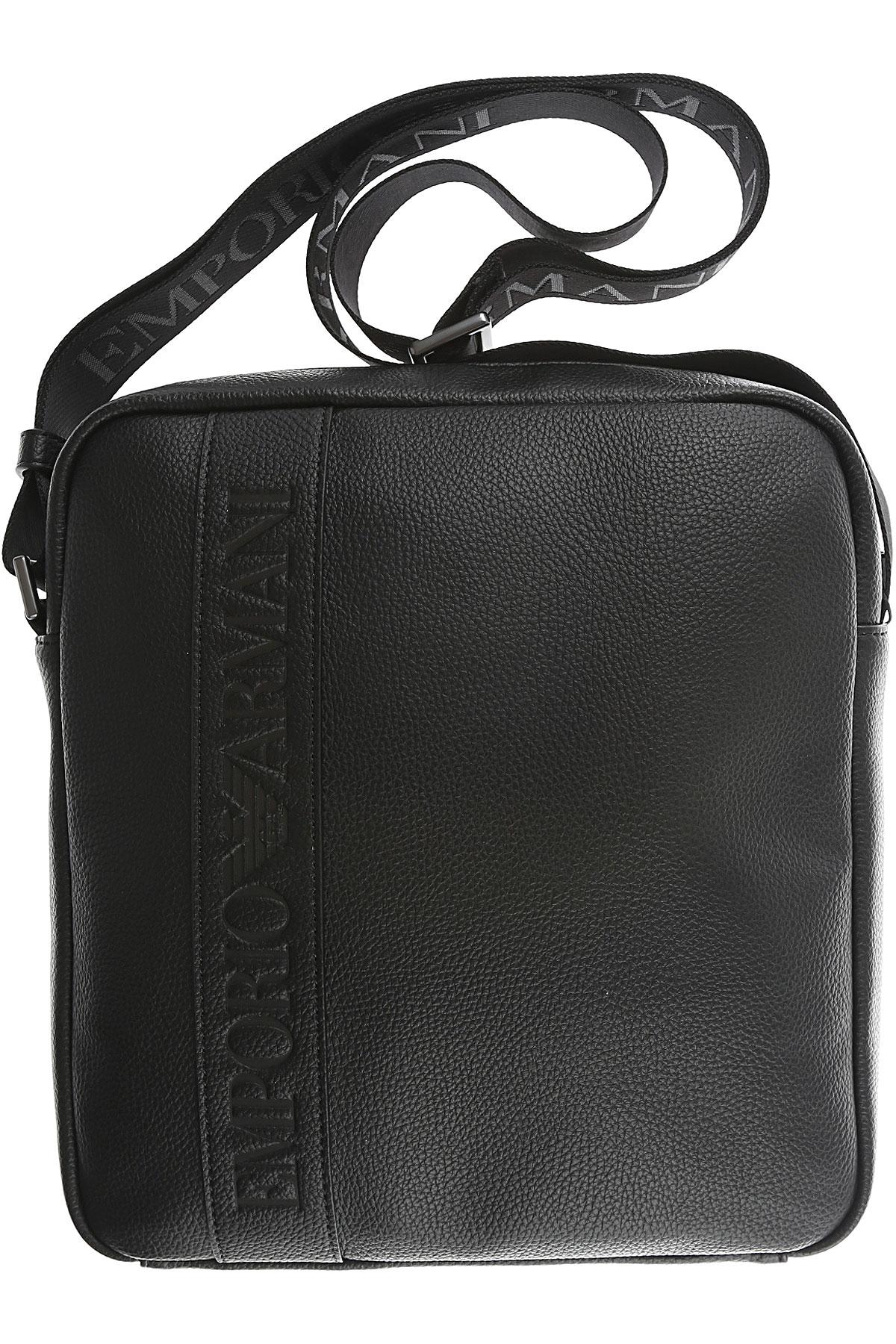 Image of Emporio Armani Messenger Bag for Men, Black, Leather, 2017