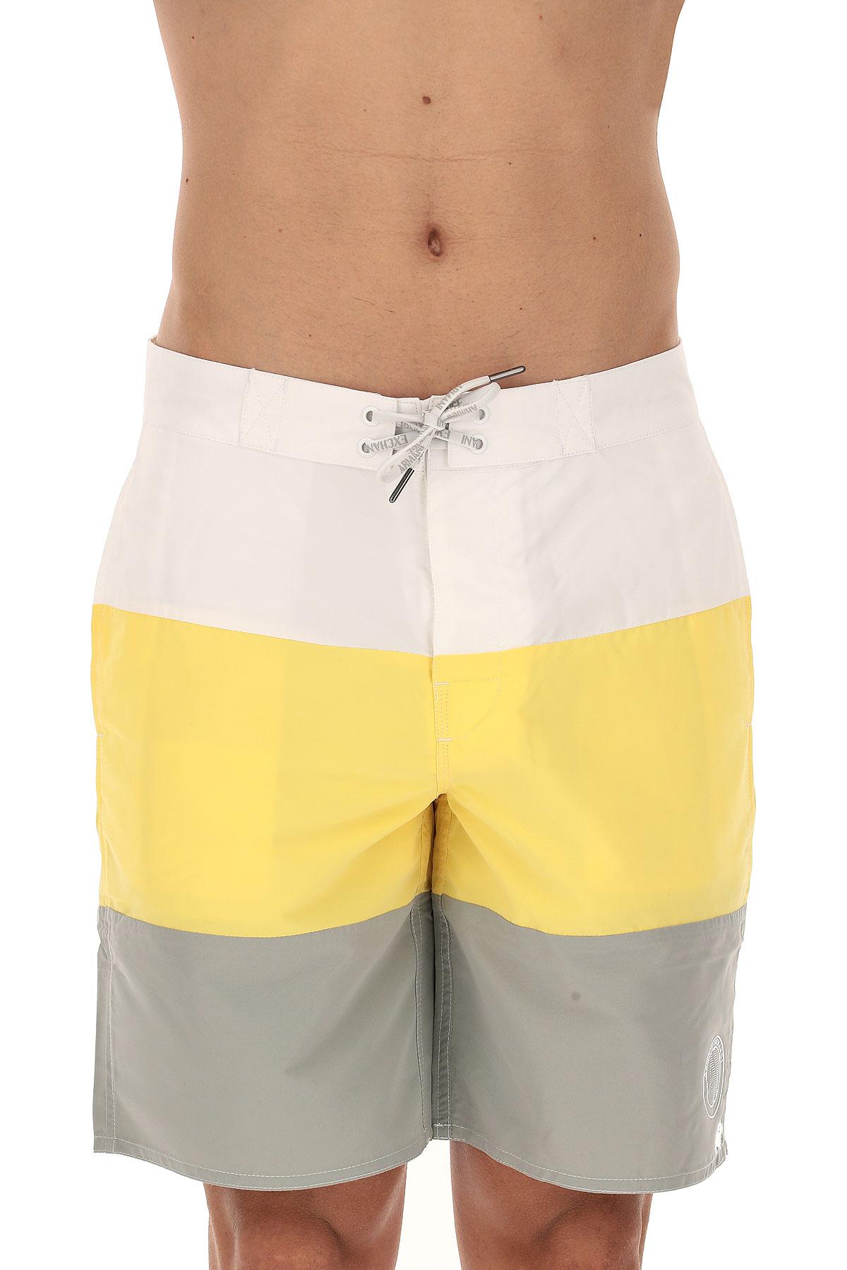 Emporio Armani Short de Bain Homme, Blanc, Polyester, 2017, L M M S XL XS