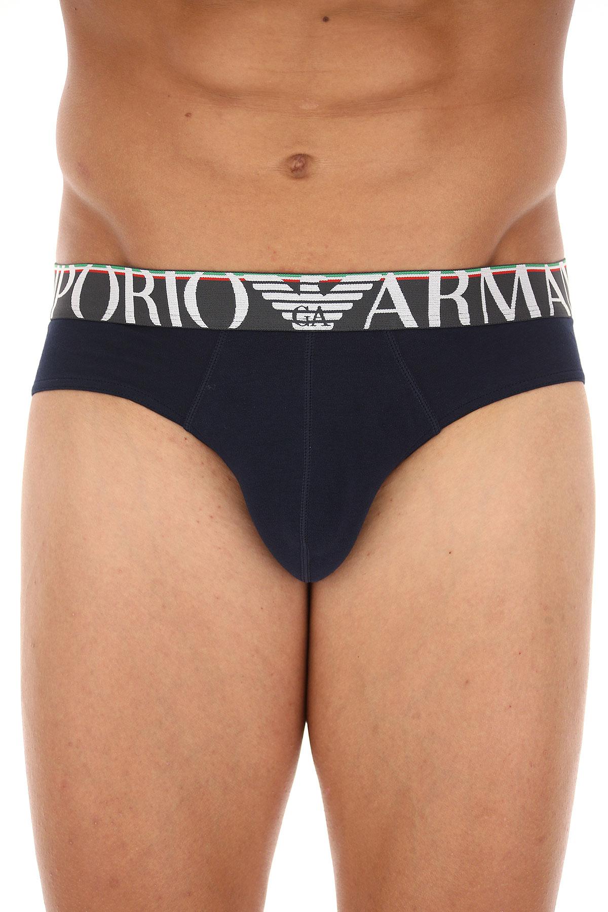 Emporio Armani Slip Homme, Bleu marine, Coton, 2017, L M S XL