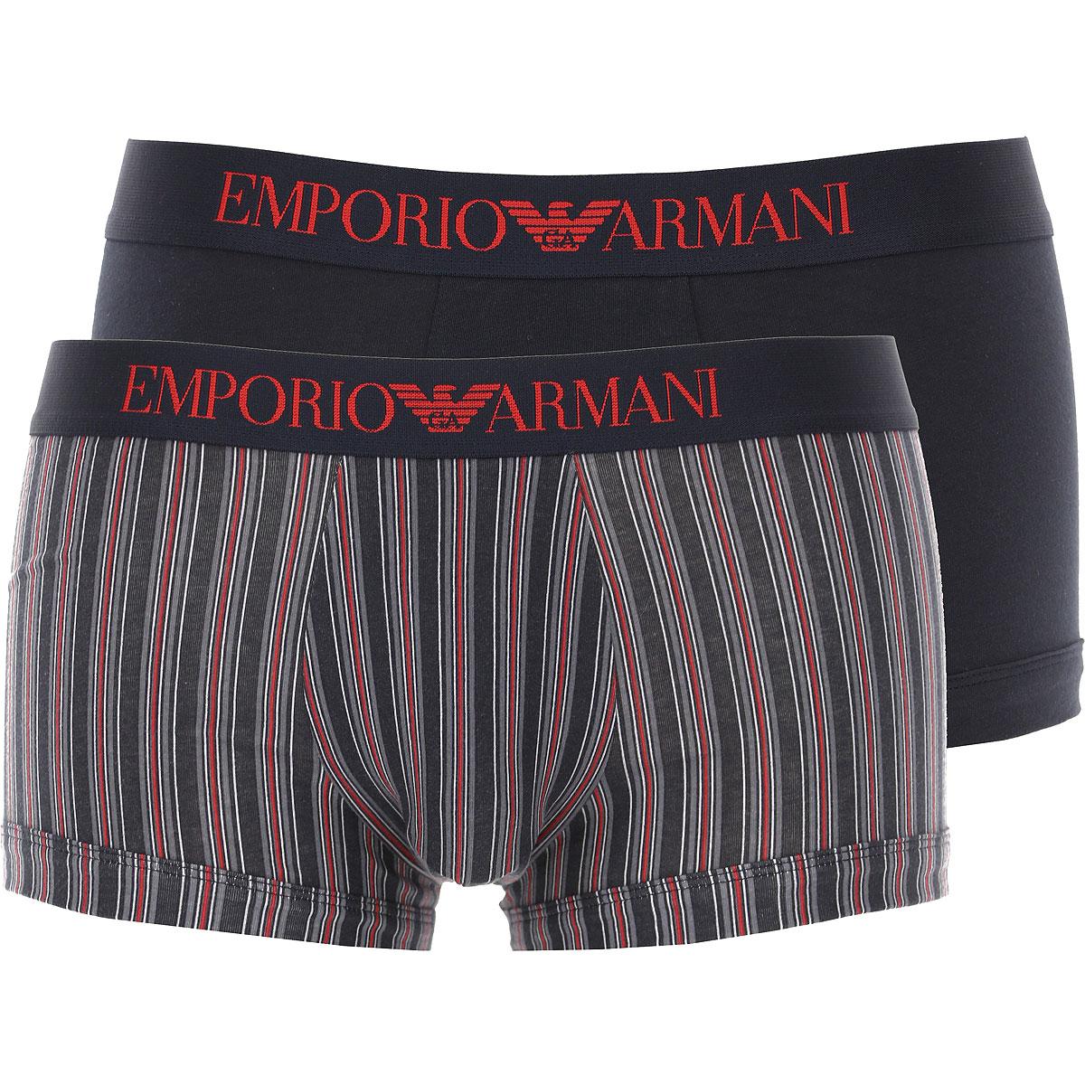 Emporio Armani Boxer Briefs for Men, Boxers On Sale, 2 Pack, Anthracite Grey, Cotton, 2019, M (EU 4) L (EU 5)