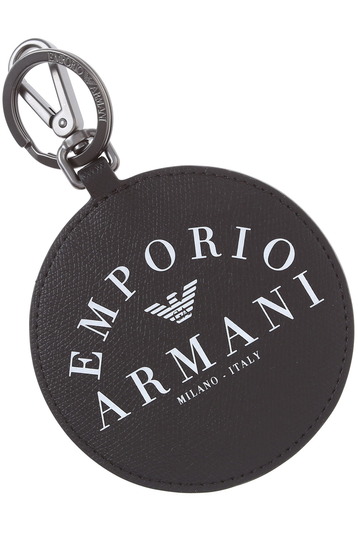 Emporio Armani Key Chain for Men, Key Ring, Black, Eco Leather, 2019