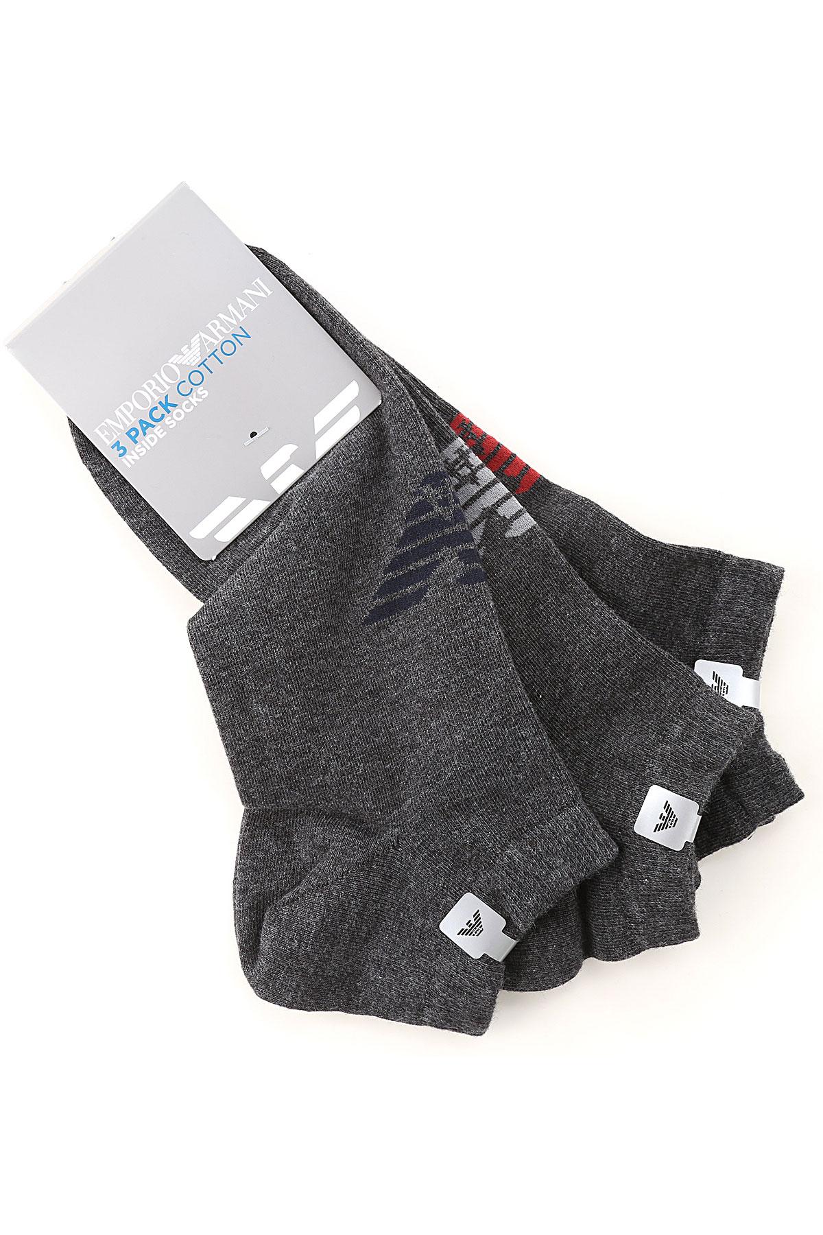 Emporio Armani Socks Socks for Men On Sale, 3 Pack, Dark Grey, Cotton, 2019, M (42-44) UK 8-9 L (45-46) UK 10-11