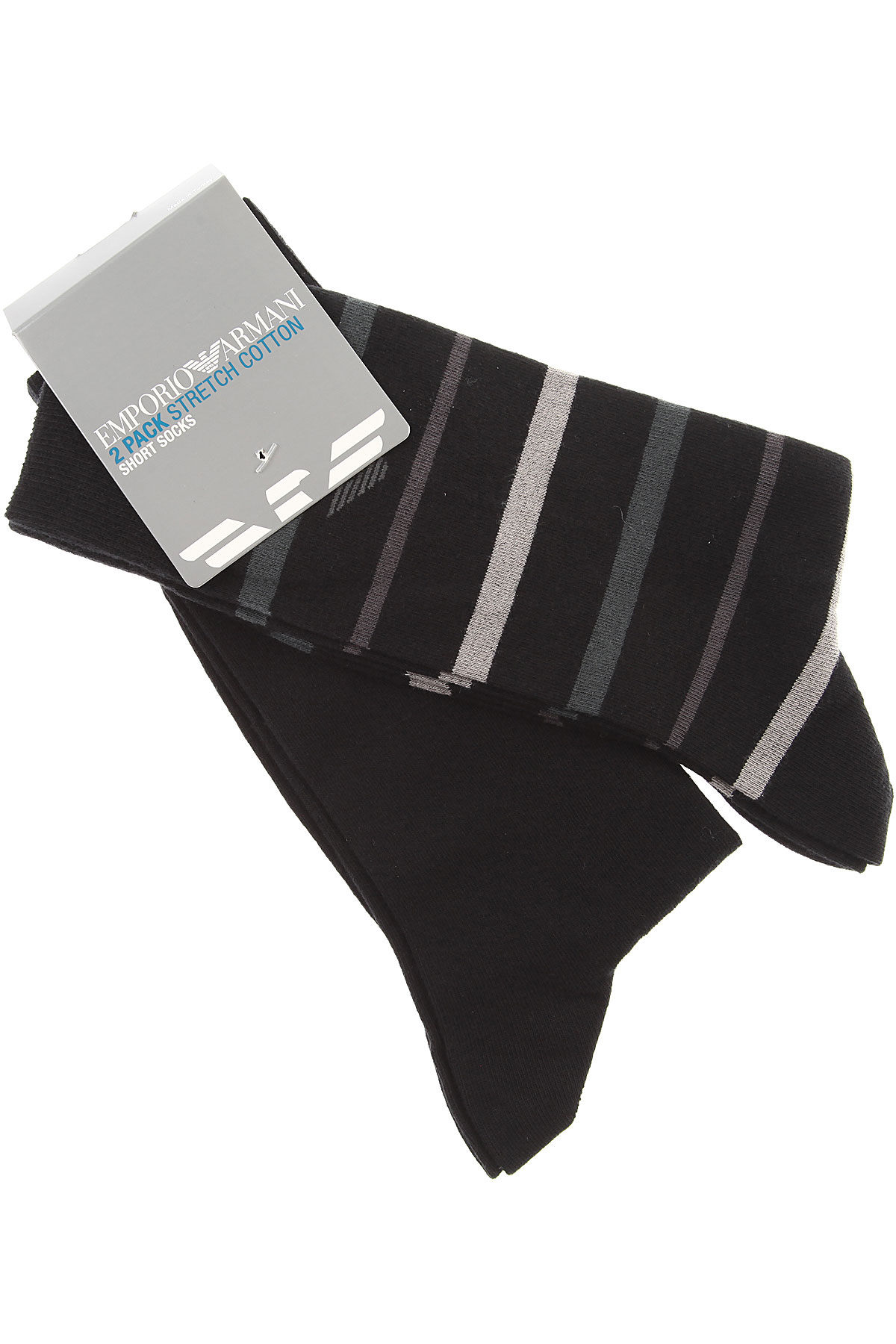 Image of Emporio Armani Socks Socks for Men, 2 Pack, Black, Cotton, 2017
