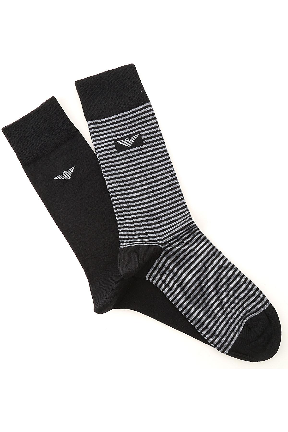 Emporio Armani Socks Socks for Men On Sale, 2 Pack, Black, Organic Cotton, 2019