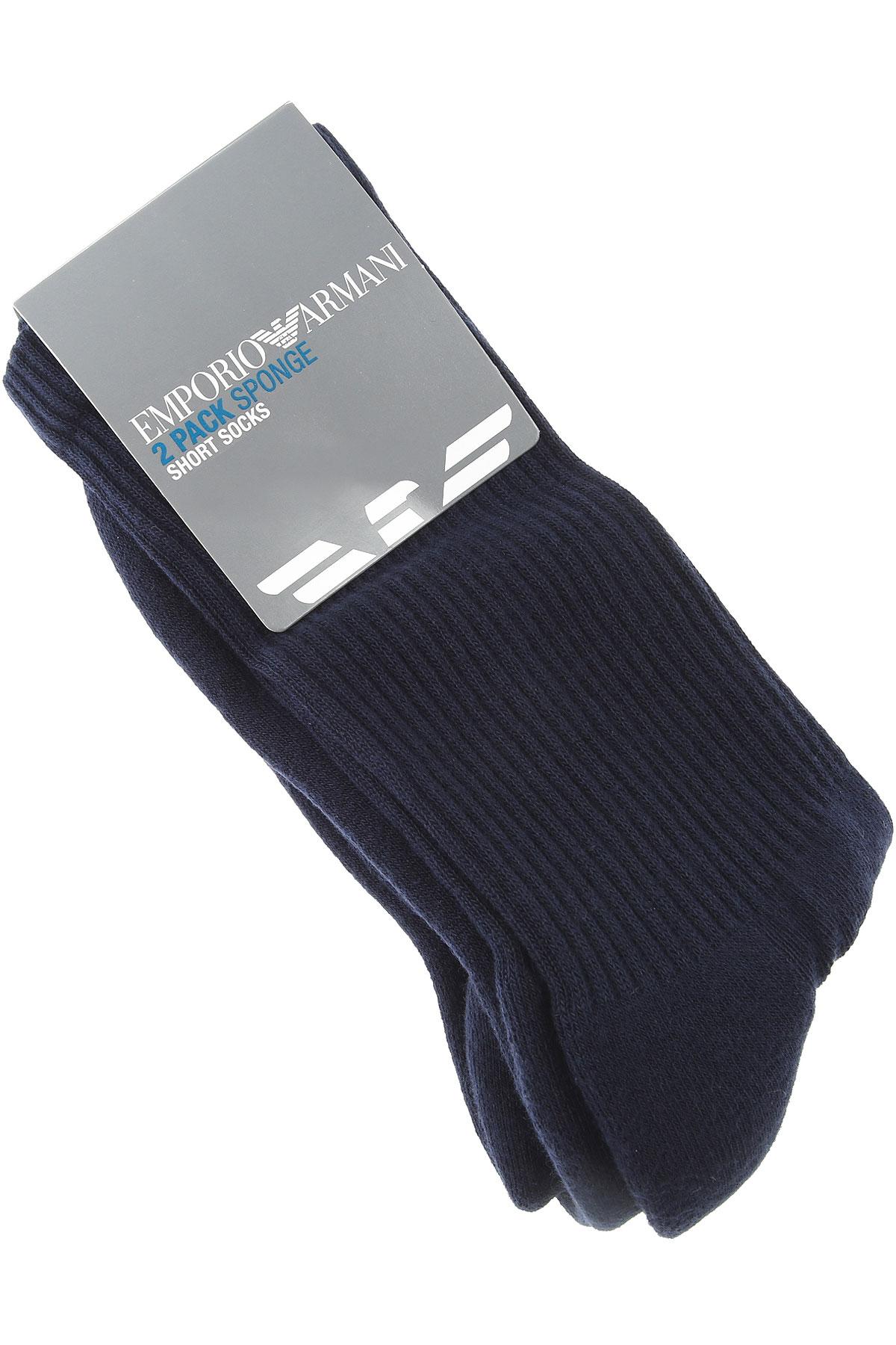 Emporio Armani Socks Socks for Men, 2 Pack, Blue Navy, Cotton, 2019, M (42-44) UK 8-9 L (45-46) UK 10-11