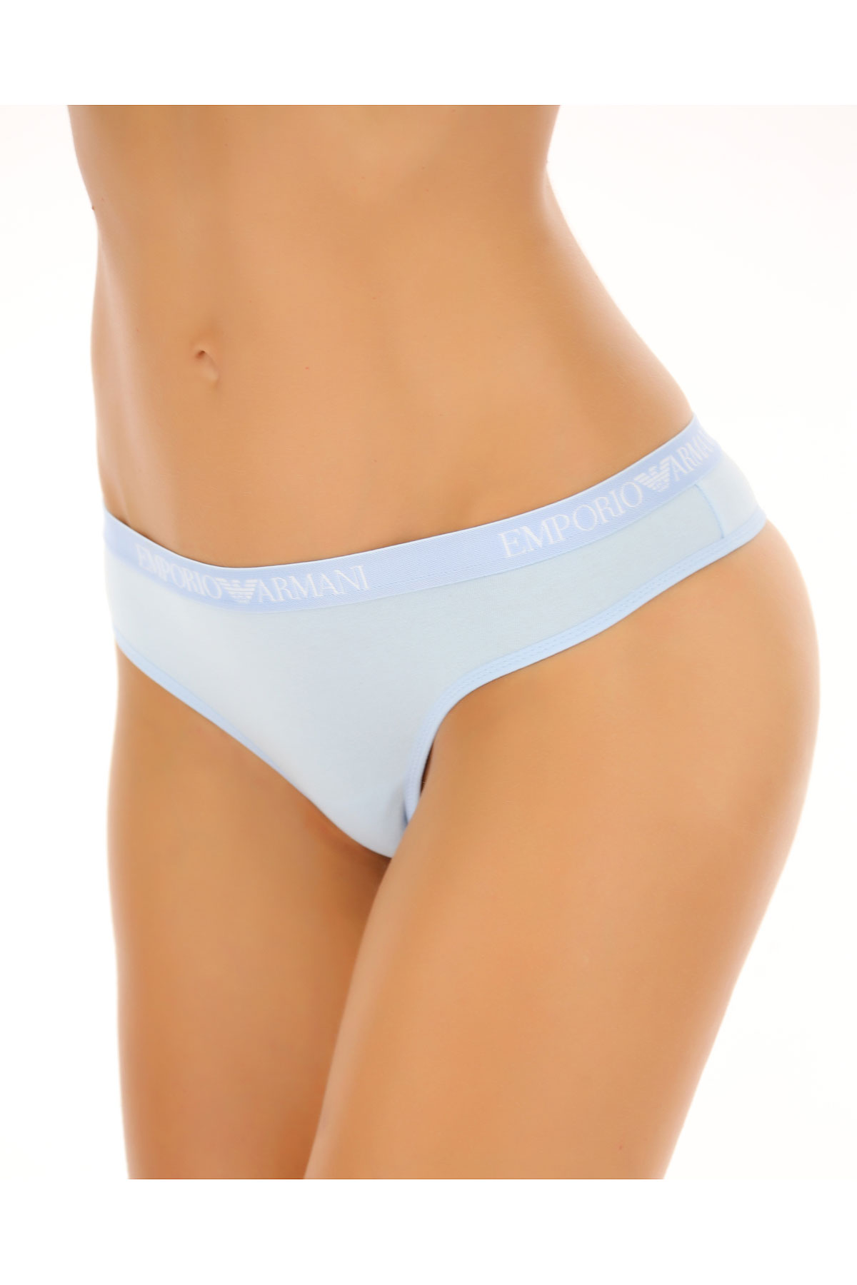 Image of Emporio Armani Womens Underwear On Sale in Outlet, Azure, Cotton, 2017, 2/S 3/M