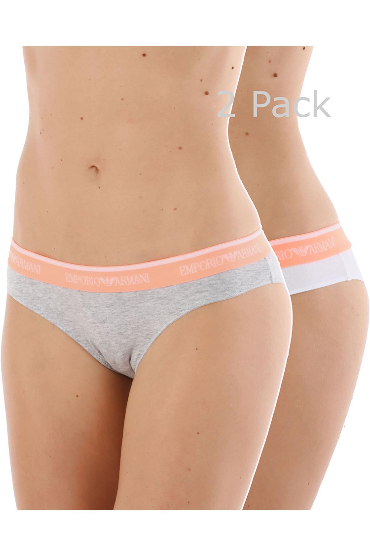Image of Emporio Armani Womens Underwear On Sale, Bipack, Grey Melange, Cotton, 2017, XS M L