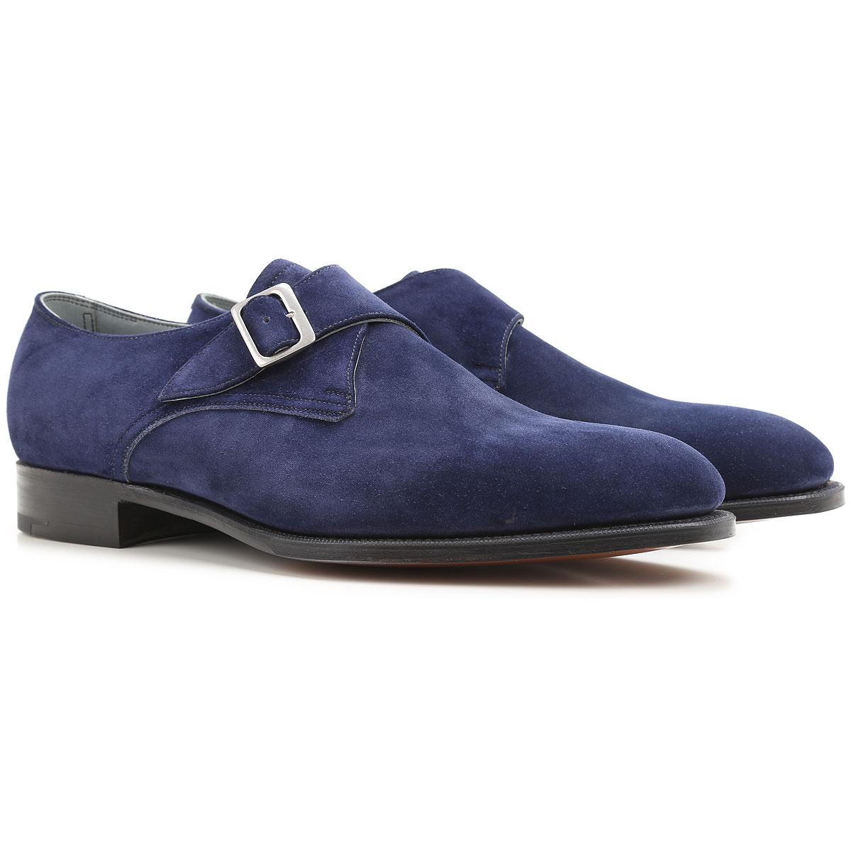 Image of Edward Green Loafers for Men On Sale, Indigo Blue, Suede leather, 2017, UK 7.5 - 8 UK 8 - 8.5