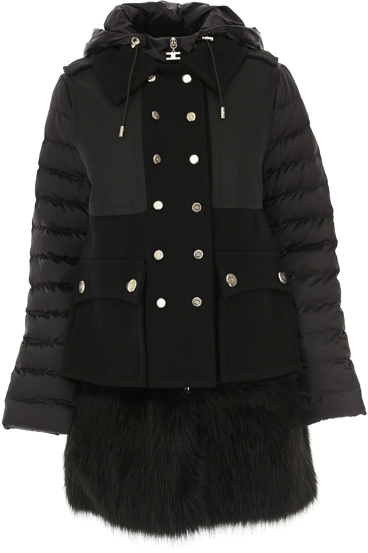 Image of Elisabetta Franchi Down Jacket for Women, Puffer Ski Jacket, Black, polyester, 2017, 28 4 6 8