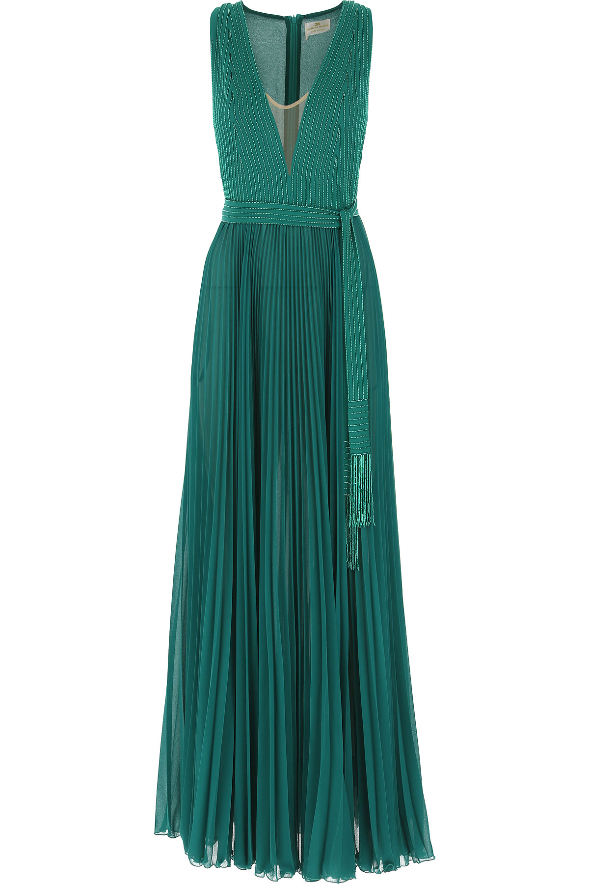 Elisabetta Franchi Dress for Women, Evening Cocktail Party On Sale, Emerald Green, polyestere, 2019, 4 6