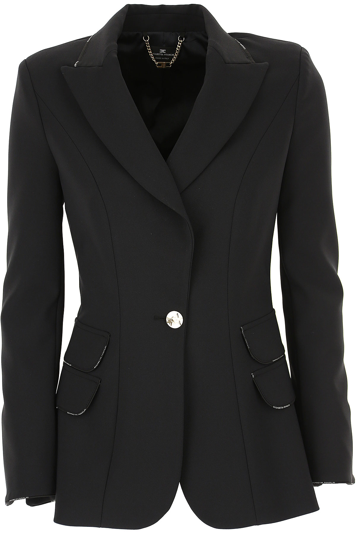 Elisabetta Franchi Blazer for Women On Sale, Black, polyestere, 2019, 4 6 8
