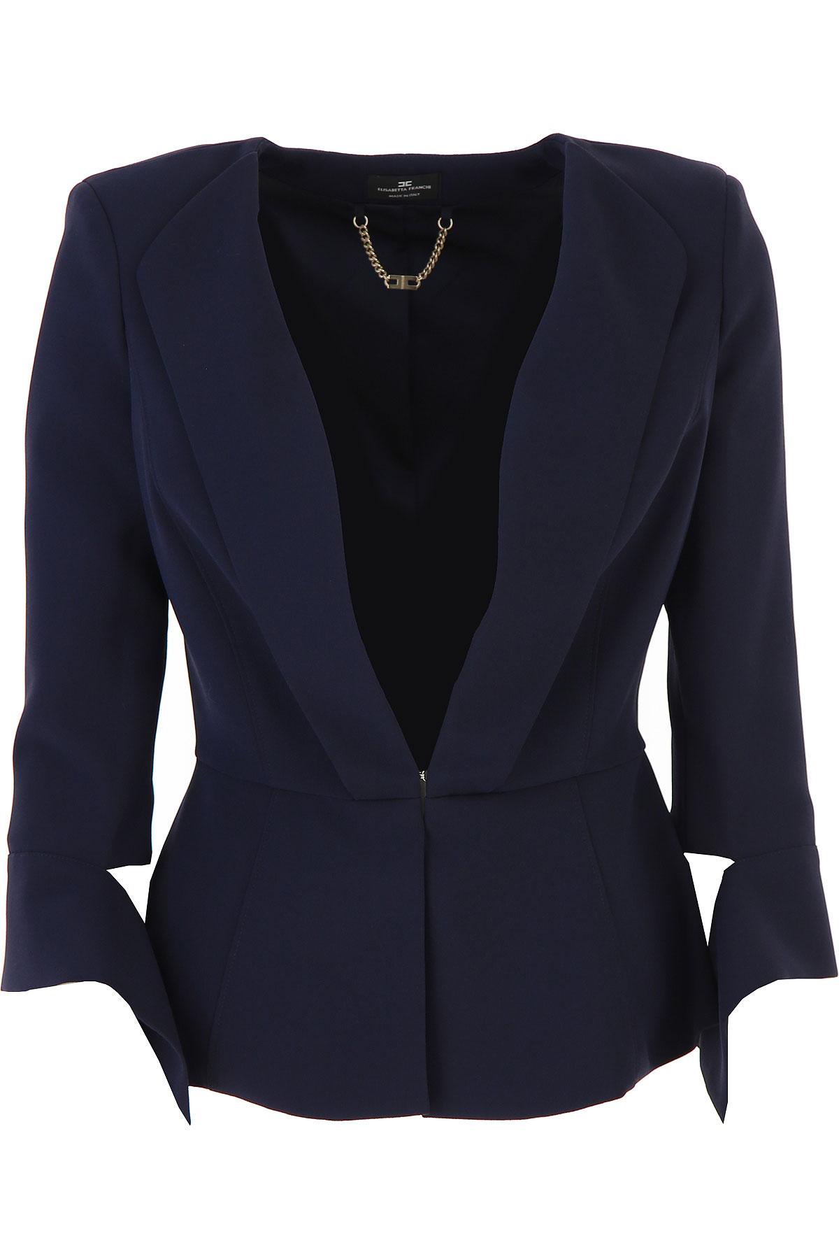 Elisabetta Franchi Blazer for Women On Sale, Midnight Blue, polyestere, 2019, 4 6