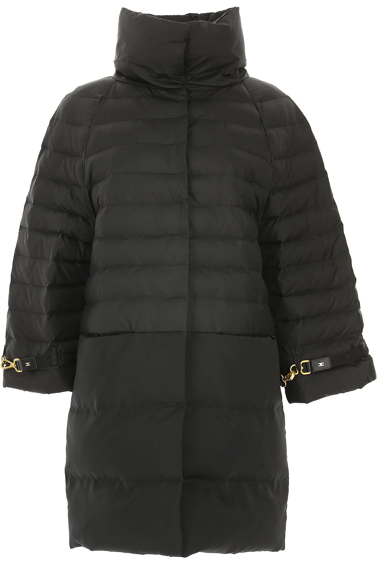 Image of Elisabetta Franchi Down Jacket for Women, Puffer Ski Jacket, Black, polyamide, 2017, 4 6