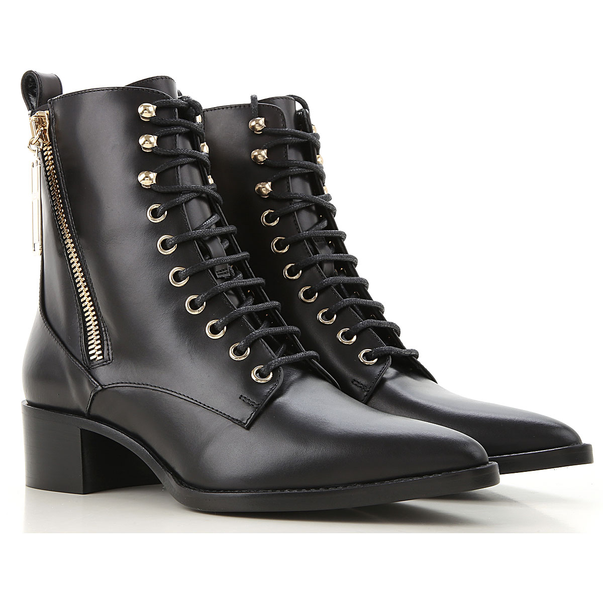 Elisabetta Franchi Boots for Women, Booties On Sale, Black, Leather, 2019, 8 9