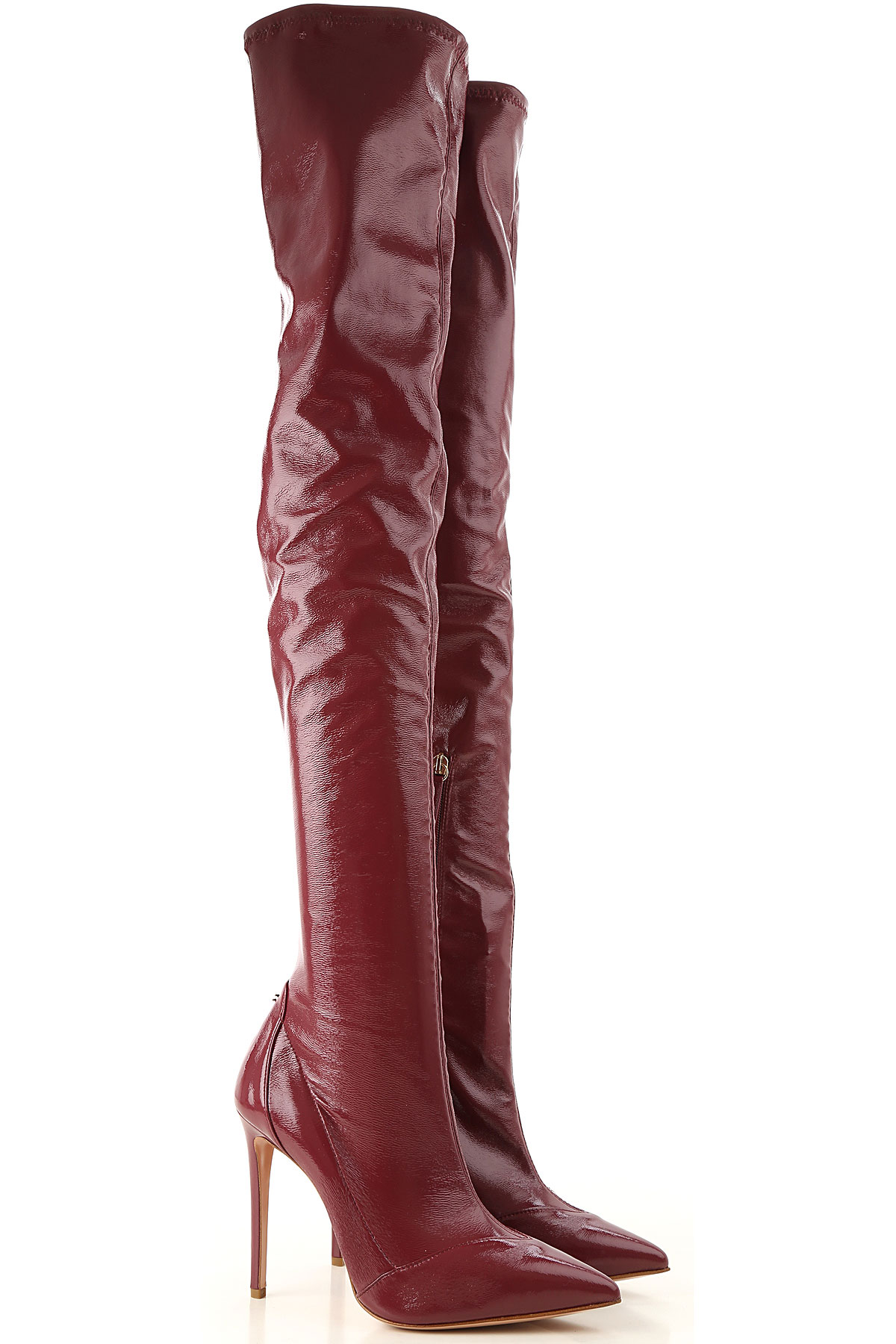 Image of Elisabetta Franchi Boots for Women, Booties, Red Wine, Patent, 2017, 10 6 7 8 9