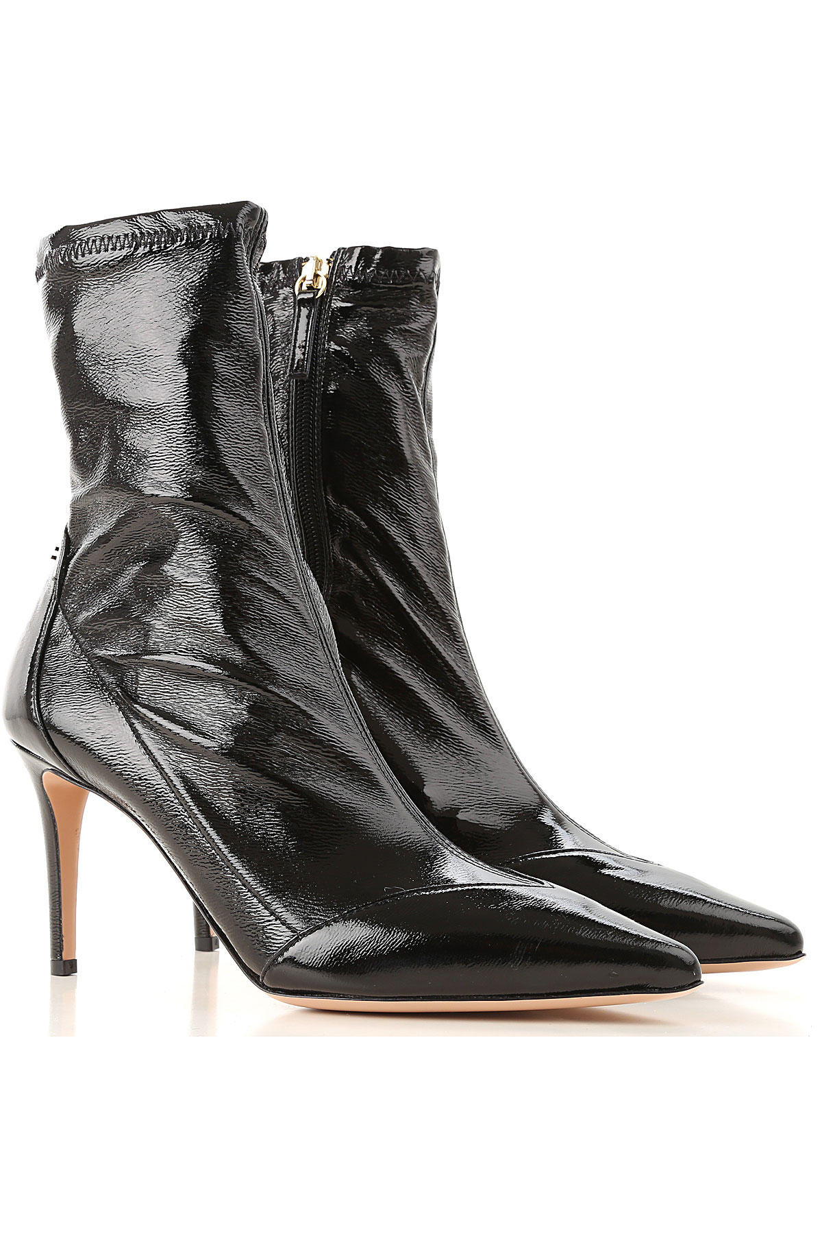 Image of Elisabetta Franchi Boots for Women, Booties, Black, Patent, 2017, 10 6 7 8 9