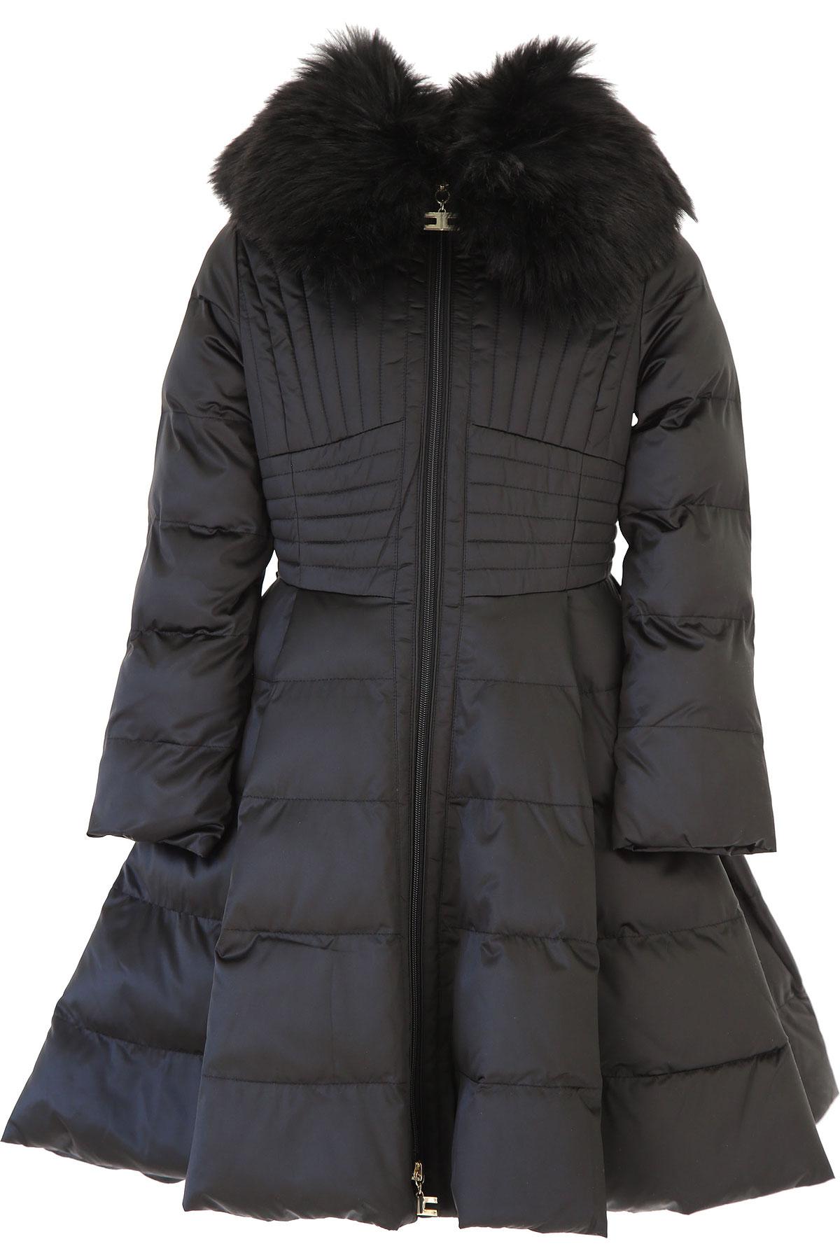 Elisabetta Franchi Girls Down Jacket for Kids, Puffer Ski Jacket On Sale, Black, polyester, 2019, M S