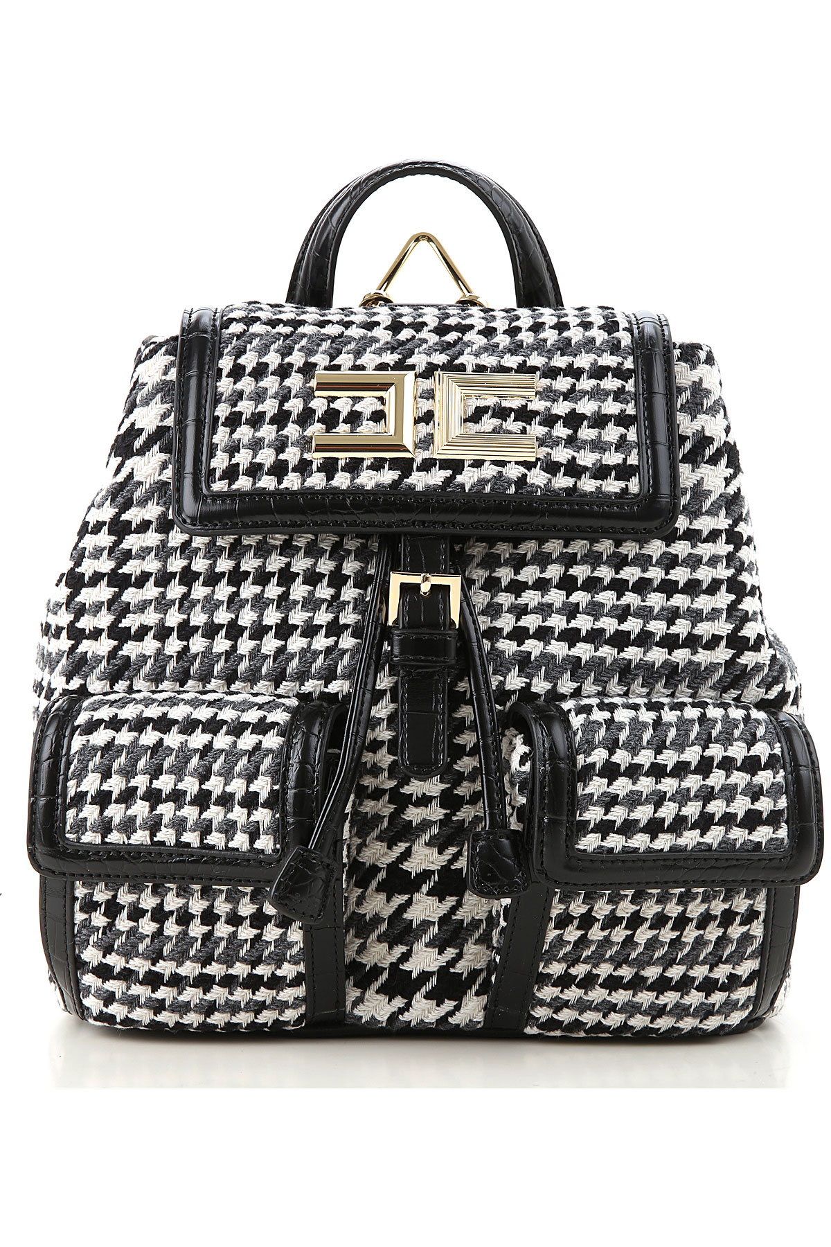 Elisabetta Franchi Backpack for Women On Sale, Black Pied de Poule, Cotton, 2019