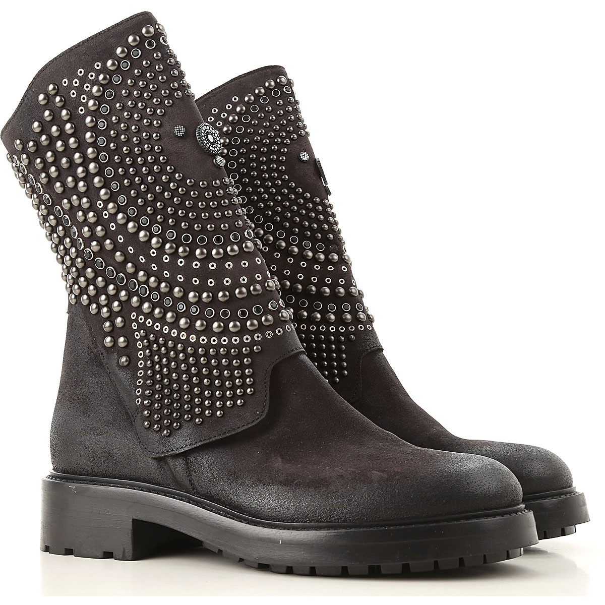 Image of Elena Iachi Boots for Women, Booties, Dark Anthracite, Suede leather, 2017, 6 7 8 9