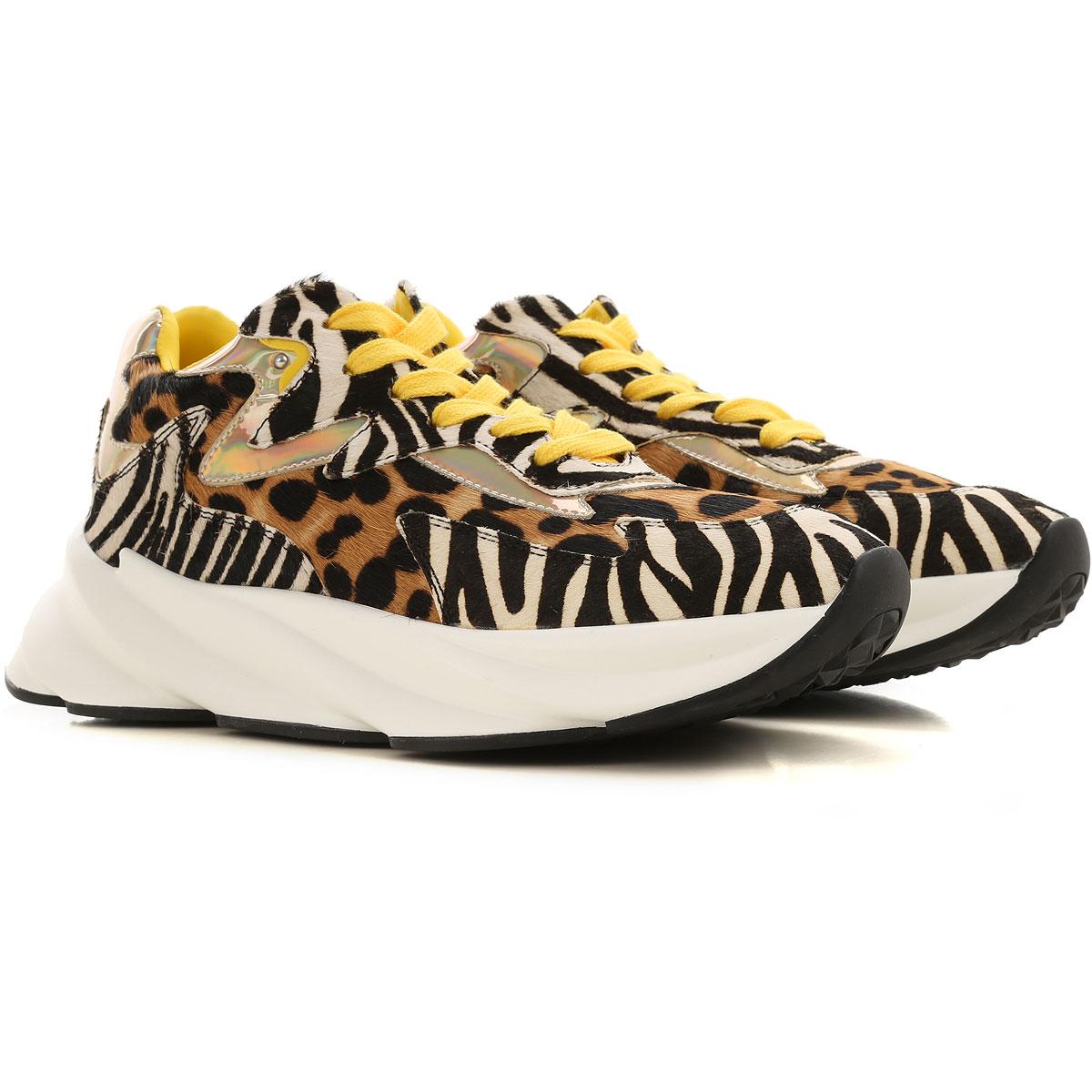 Elena Iachi Sneakers for Women On Sale, Zebra-Striped, Leather, 2019, 10 8 9
