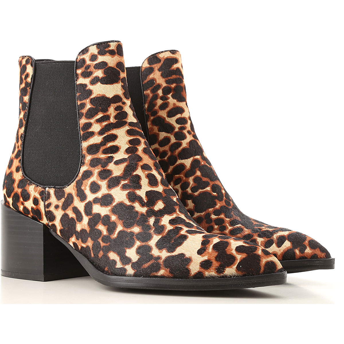 Elvio Zanon Boots for Women, Booties On Sale, Leopard, Fur, 2019, 6 7 8 9
