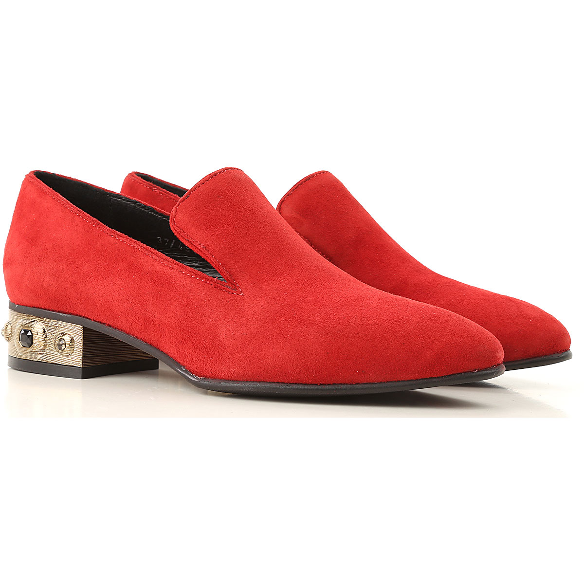 Elvio Zanon Loafers for Women On Sale in Outlet, Red, Suede leather, 2019, 6 7