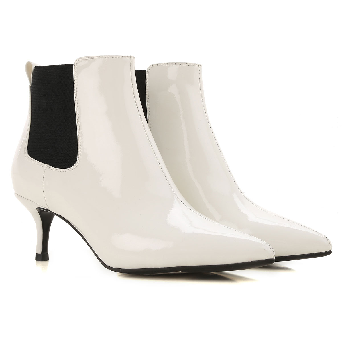 Image of ESSENTIEL Antwerp Boots for Women, Booties, White, Patent Leather, 2017, 6 7 8