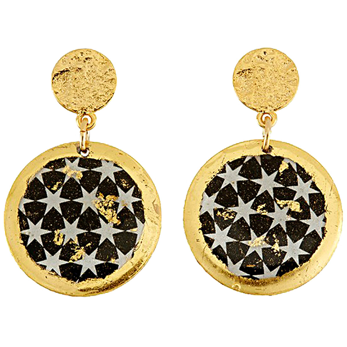 Evocateur Earrings for Women, Black, 22K Gold Leaf, 2019