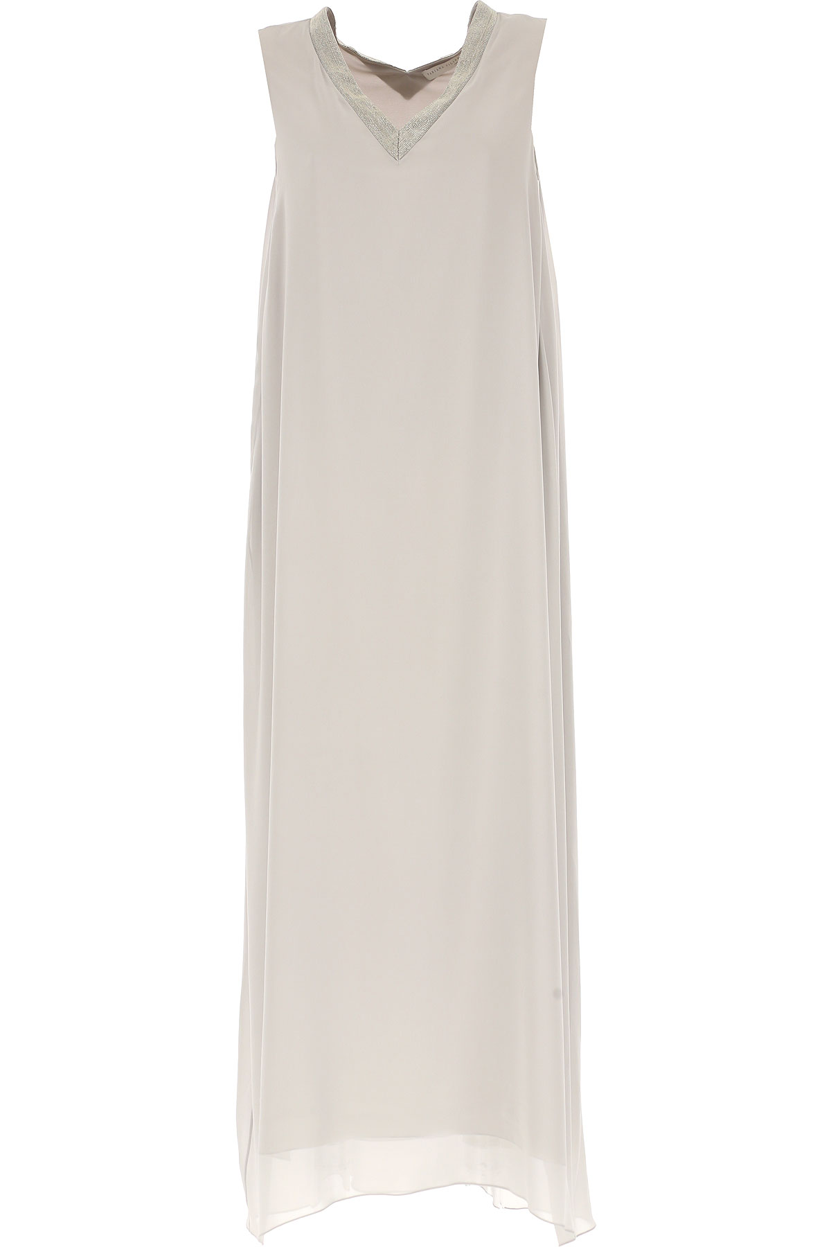 Image of Fabiana Filippi Dress for Women, Evening Cocktail Party On Sale, Grey, polyestere, 2017, 10 12 4 6 8