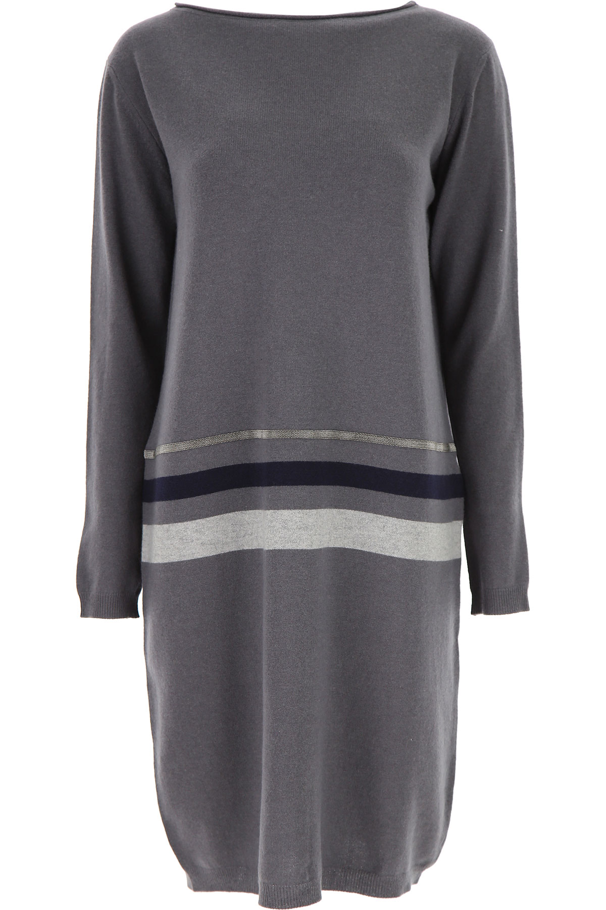 Fabiana Filippi Dress for Women, Evening Cocktail Party On Sale, antracite, Merinos Wool, 2019, 4 6 8
