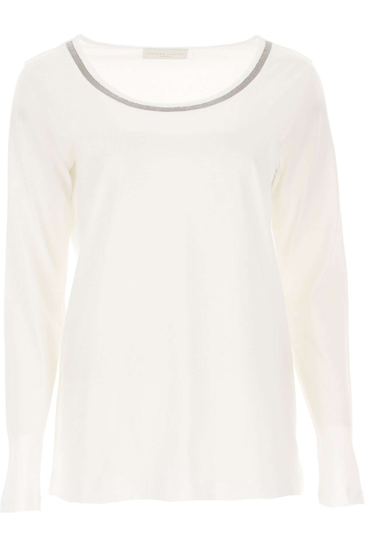 Fabiana Filippi T-shirt Femme Pas cher en Soldes, Blanc, Coton, 2019, 40 46