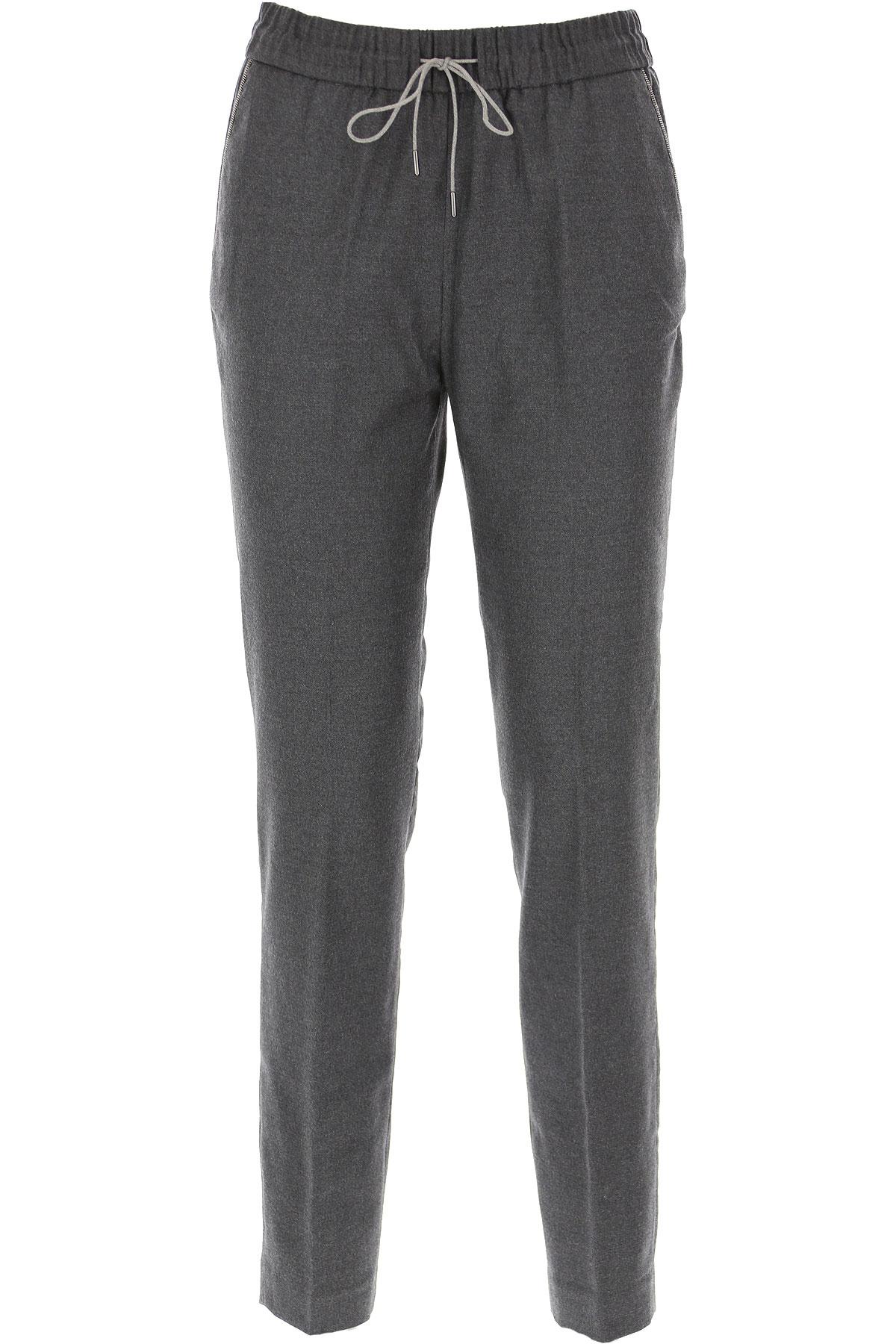 Fabiana Filippi Pants for Women On Sale, Anthracite Grey, merino wool, 2019, 24 28 30 34