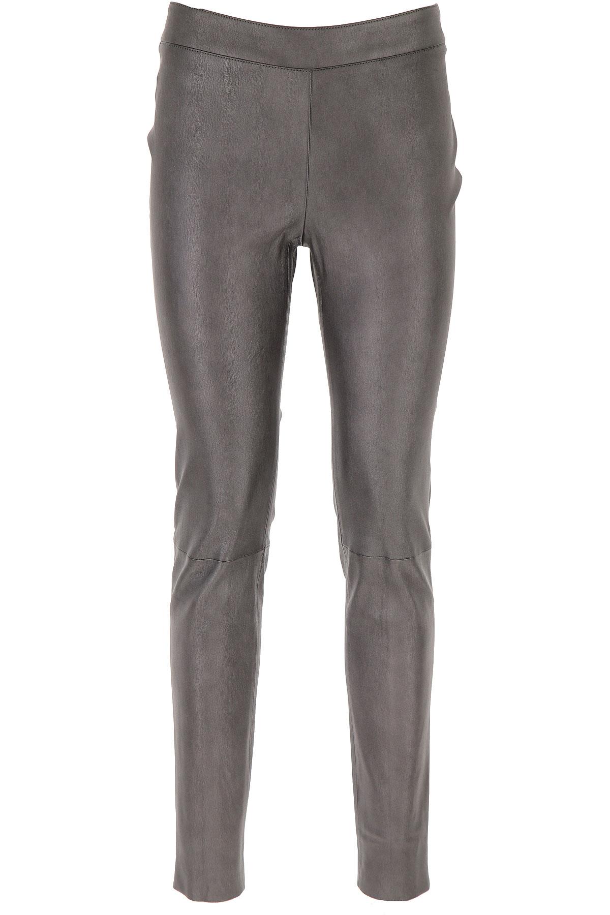 Fabiana Filippi Pants for Women On Sale, Metallic Grey, Leather, 2019, 26 28 30