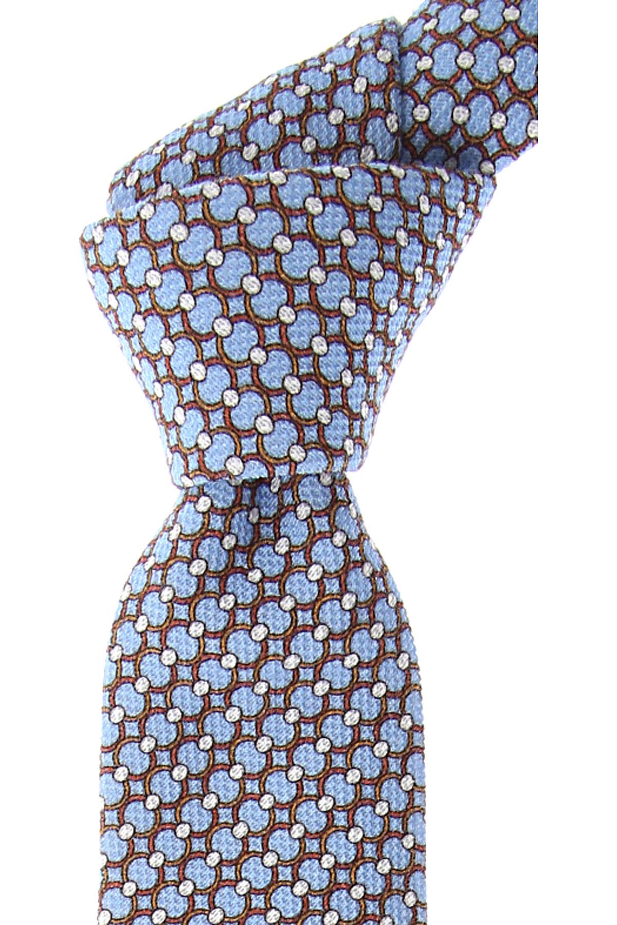 Fefe Napoli Cravates Pas cher en Soldes, Bleu ciel, Coton, 2019