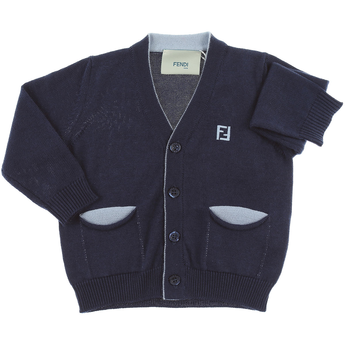 Image of Fendi Baby Sweaters for Boys, Blue, Cotton, 2017, 12M 18M 2Y 3M 6M