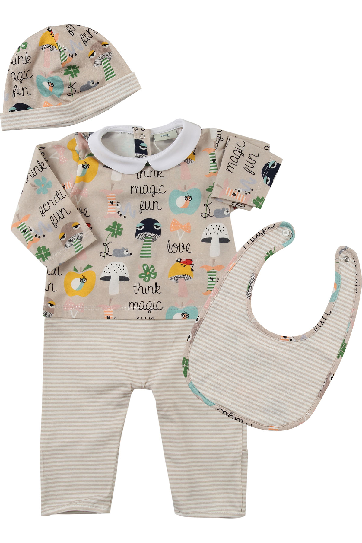 Image of Fendi Baby Sets for Boys, Beige, Cotton, 2017, 3M 6M