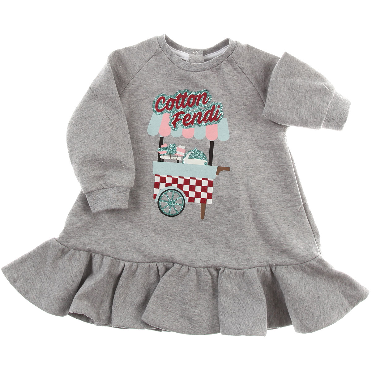 Image of Fendi Baby Dress for Girls, Grey, Cotton, 2017, 12M 18M 2Y 6M 9M