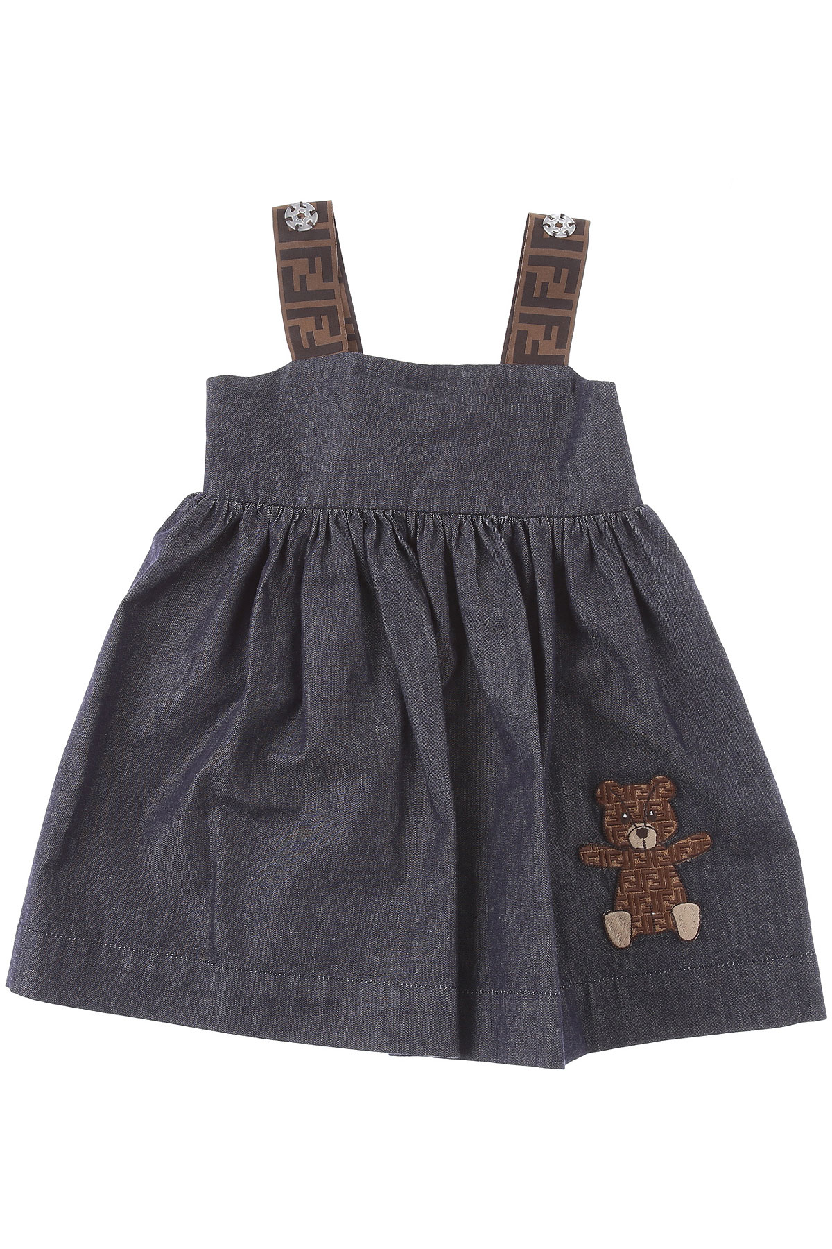 Fendi Baby Dress for Girls On Sale, Blue Denim, Cotton, 2019, 18M 2Y 6M 9M
