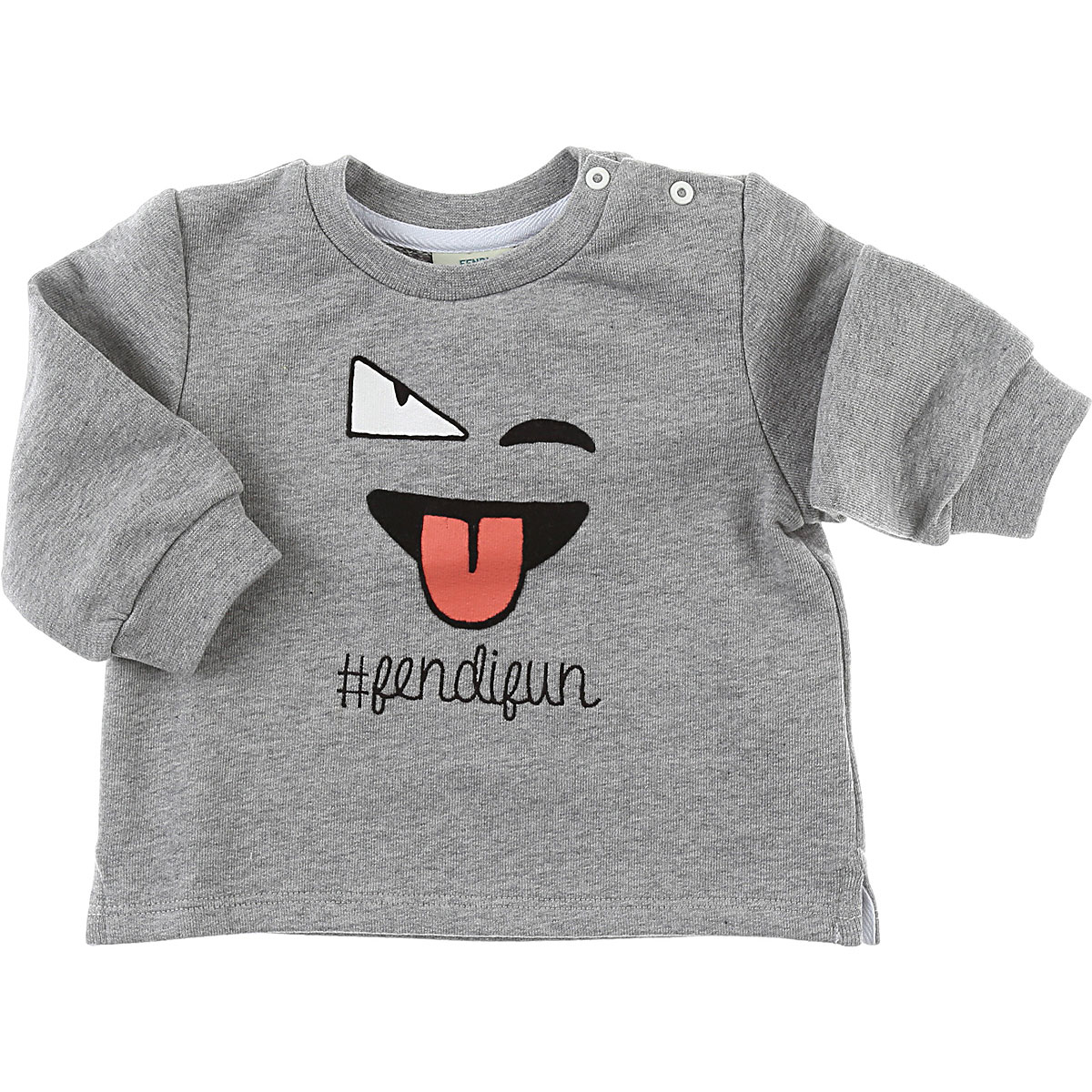 Image of Fendi Baby Sweatshirts & Hoodies for Girls, Grey, Cotton, 2017, 12M 18M 2Y 3M 6M 9M