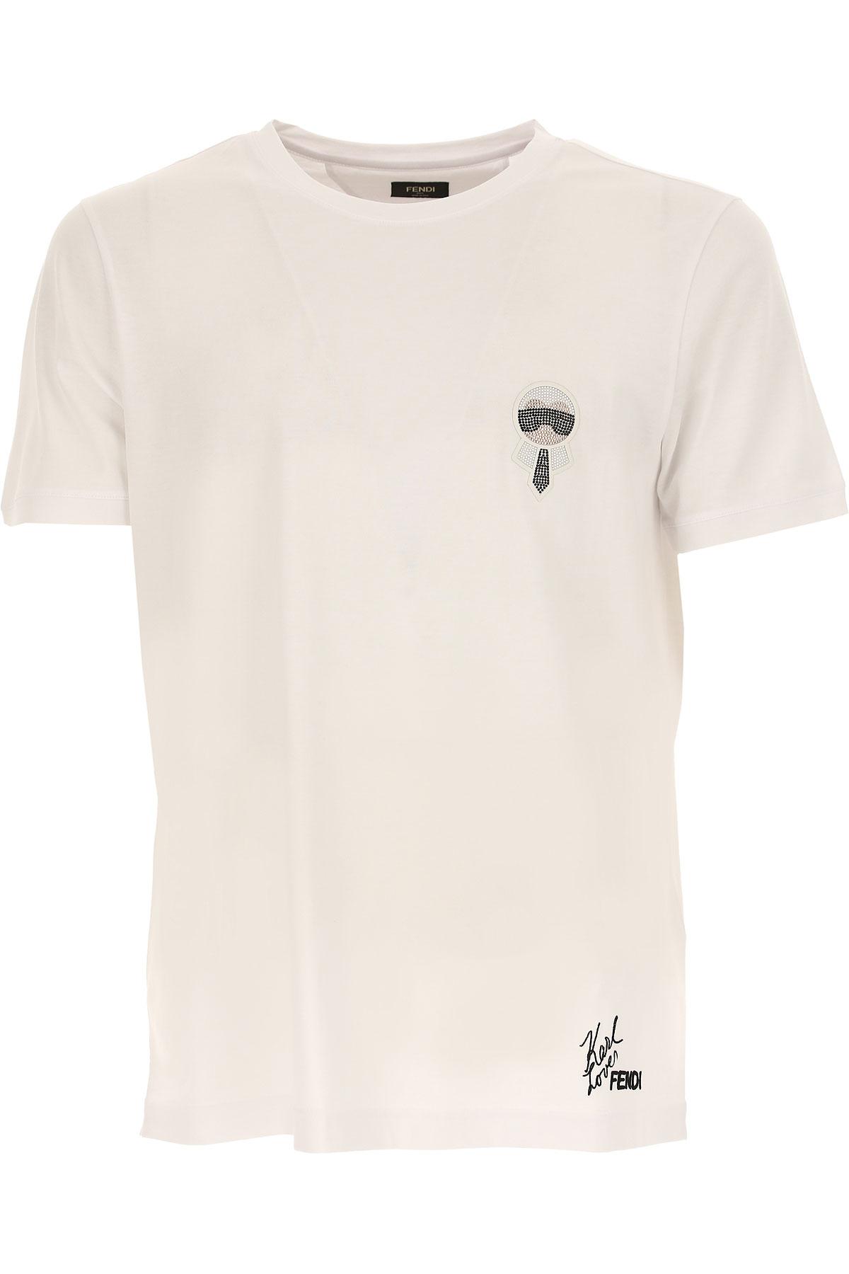 Fendi T-shirt Homme, Karl Lagerfeld, Blanc, Coton, 2017, L M S XL