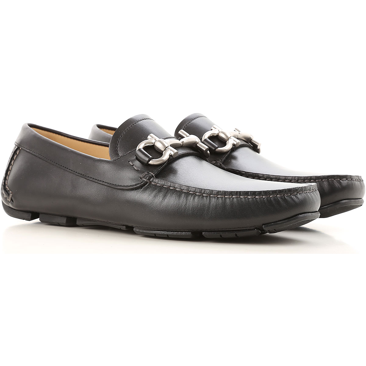 Image of Salvatore Ferragamo Driver Loafer Shoes for Men On Sale, Black, Leather, 2017, 6 6.5 7 8.5