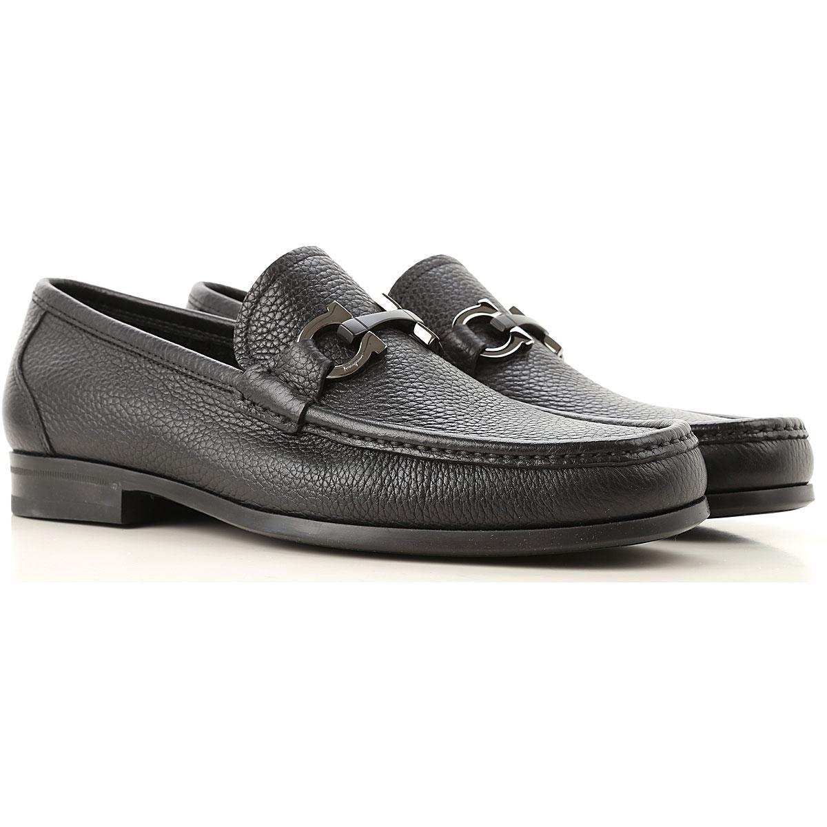Salvatore Ferragamo Loafers for Men On Sale, Black, Crackle Leather, 2019, 6 6.5 7 7.5 8 8.5 9 9.5