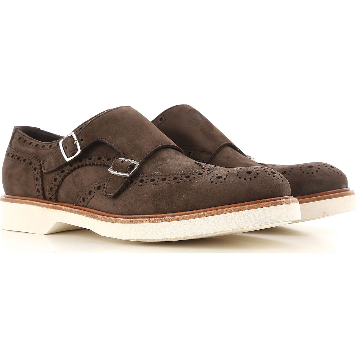 Salvatore Ferragamo Monk Strap Shoes for Men On Sale in Outlet, Dark Brown, Suede leather, 2019, 7 7.5 8