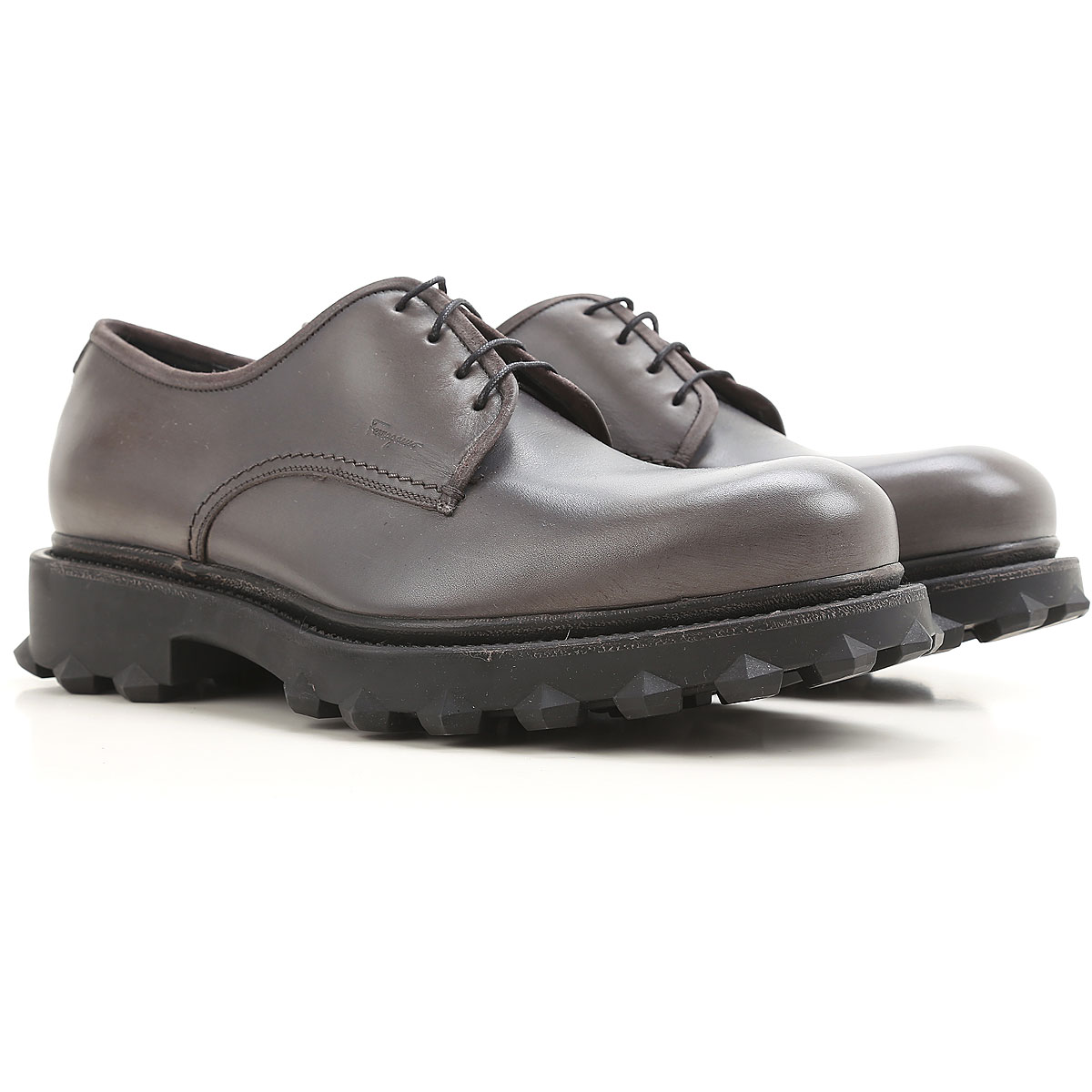 Image of Salvatore Ferragamo Lace Up Shoes for Men Oxfords, Derbies and Brogues, dark stone grey, Leather, 2017, 10 11 7 7.5 8 8.5 9.5
