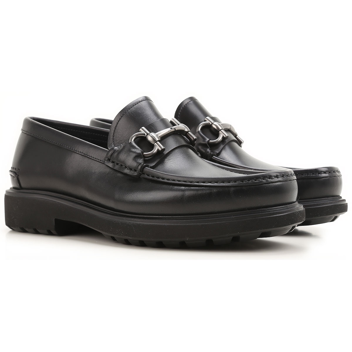 Image of Salvatore Ferragamo Loafers for Men On Sale, Black, Leather, 2017, 8 8.5 9 9.5