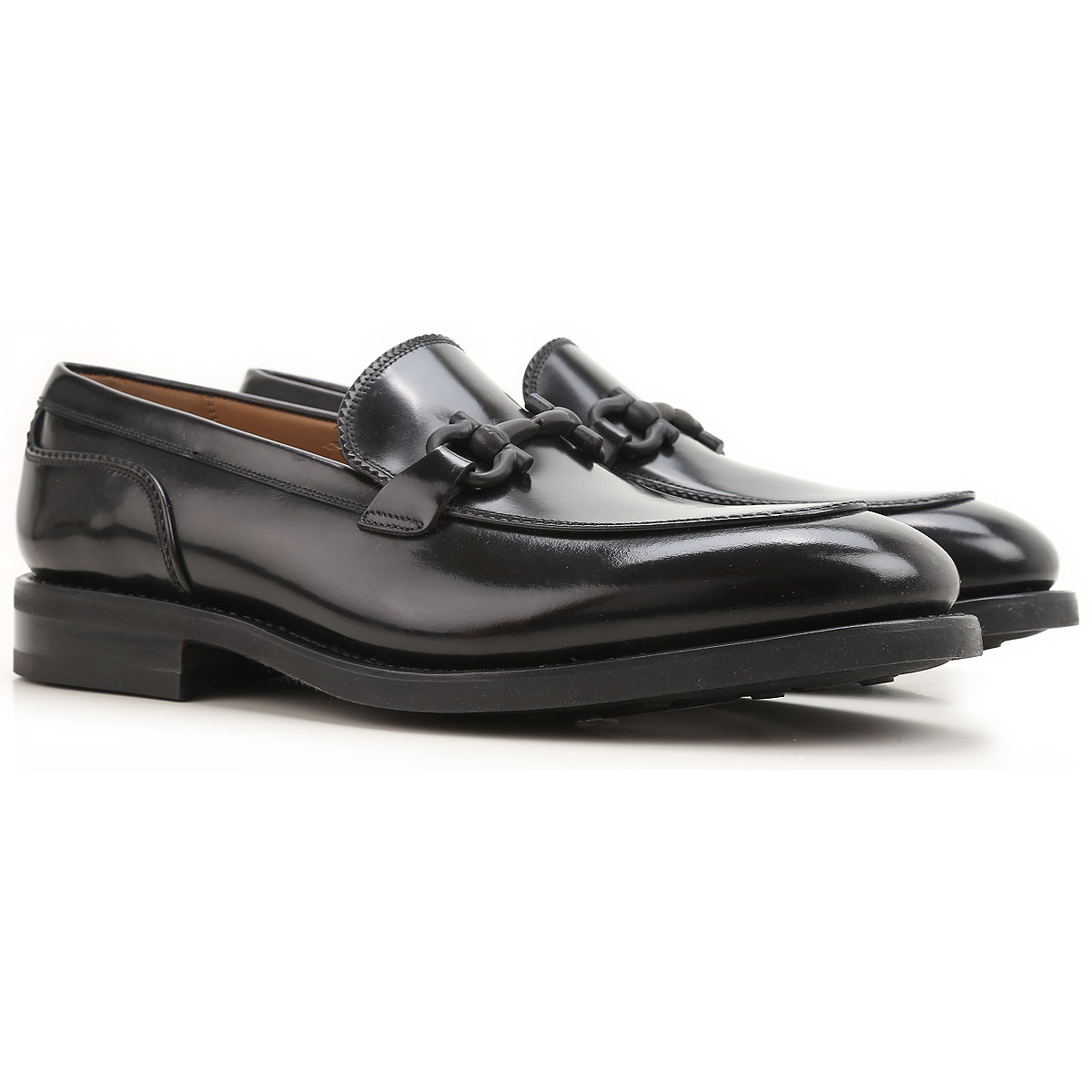 Image of Salvatore Ferragamo Loafers for Men On Sale, Black, Leather, 2017, 10.5 7