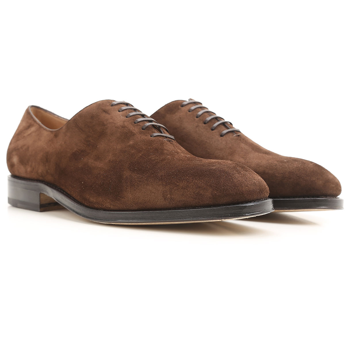 Image of Salvatore Ferragamo Lace Up Shoes for Men Oxfords, Derbies and Brogues, Fondant Chocolate, Suede leather, 2017, 11 8.5